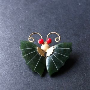 Jewelry - Vintage Jade Coral Butterfly Pendant/ Retro Brooch